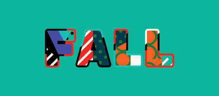 The word FALL concept written in colorful abstract typography.