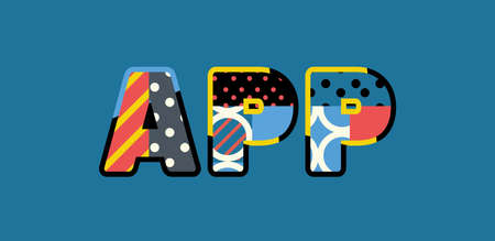 The word APP concept written in colorful abstract typography.