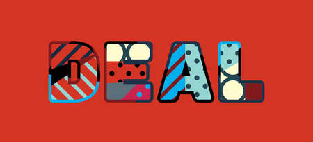 The word DEAL concept written in colorful abstract typography.  イラスト・ベクター素材