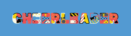 The word CHEERLEADER concept written in colorful abstract typography.