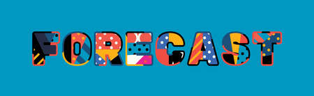 The word FORECAST concept written in colorful abstract typography. Ilustrace