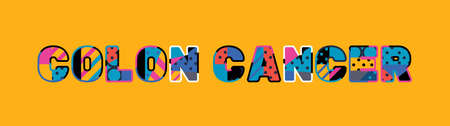 The word COLON CANCER concept written in colorful abstract typography.  イラスト・ベクター素材
