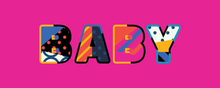 The word BABY concept written in colorful abstract typography.