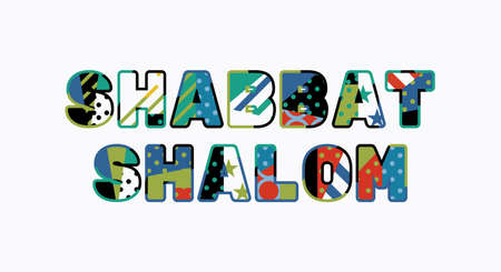 The words SHABBAT SHALOM concept written in colorful abstract typography. 向量圖像