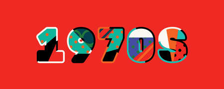 The word 1970s concept written in colorful abstract typography. Иллюстрация