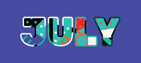 The word JULY concept written in colorful abstract typography.