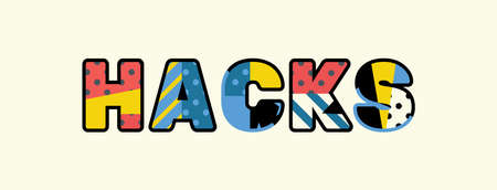 The word HACKS concept written in colorful abstract typography.