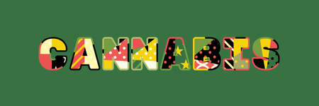 The word CANNABIS concept written in colorful abstract typography.