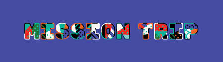 The word MISSION TRIP concept written in colorful abstract typography.
