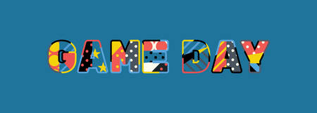 The words GAME DAY concept written in colorful abstract typography. Çizim
