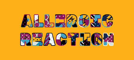The words ALLERGIC REACTION concept written in colorful abstract typography. Vettoriali