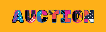 The word AUCTION concept written in colorful abstract typography.