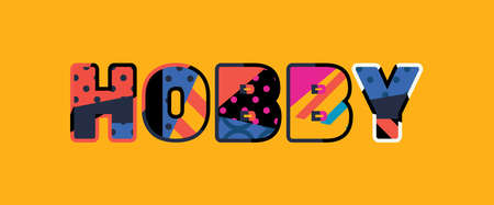The word HOBBY concept written in colorful abstract typography. Ilustração