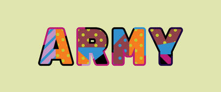 The word ARMY concept written in colorful abstract typography.
