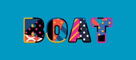 The word BOAT concept written in colorful abstract typography.