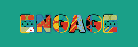 The word ENGAGE concept written in colorful abstract typography.