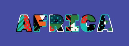 The word AFRICA concept written in colorful abstract typography.