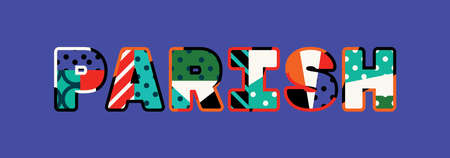 The word PARISH concept written in colorful abstract typography. Vectores