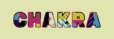 The word CHAKRA concept written in colorful abstract typography.