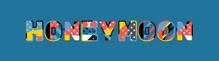 The word HONEYMOON concept written in colorful abstract typography.