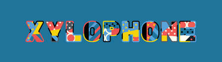 The word XYLOPHONE concept written in colorful abstract typography.