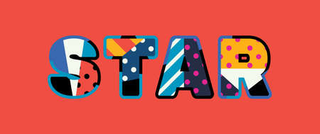 The word STAR concept written in colorful abstract typography. Ilustração