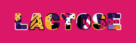 The word LACTOSE concept written in colorful abstract typography.