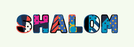The word SHALOM concept written in colorful abstract typography. Illustration
