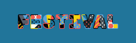 The word FESTIVAL concept written in colorful abstract typography.