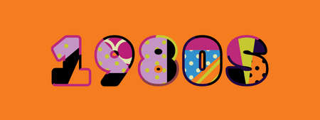The word 1980s concept written in colorful abstract typography. Çizim