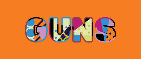 The word GUNS concept written in colorful abstract typography.