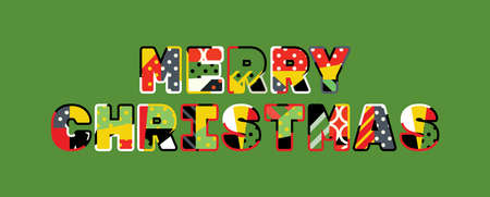 The words MERRY CHRISTMAS concept written in colorful abstract typography.
