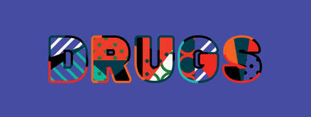 The word DRUGS concept written in colorful abstract typography.