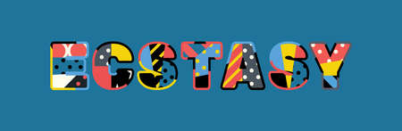 The word ECSTASY concept written in colorful abstract typography.