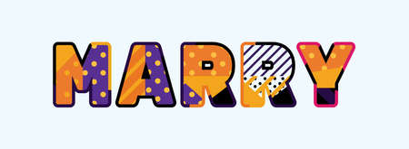 The word MARRY concept written in colorful abstract typography.