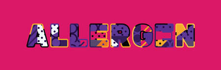 The word ALLERGEN concept written in colorful abstract typography. Illustration