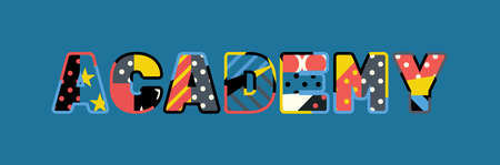 The word ACADEMY concept written in colorful abstract typography. Stock Illustratie