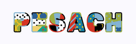 The word PESACH concept written in colorful abstract typography.