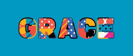 La parola GRAZIA concetto scritto in una colorata tipografia astratta. Vettoriali