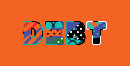 The word DEBT concept written in colorful abstract typography.