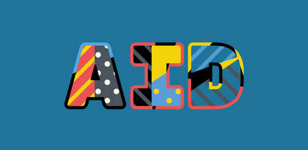 The word AID concept written in colorful abstract typography. Ilustração