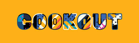 The word COOKOUT concept written in colorful abstract typography. Illustration