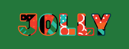 The word JOLLY concept written in colorful abstract typography.