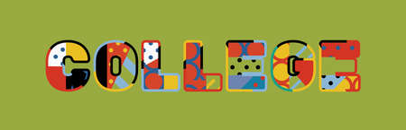 The word COLLEGE concept written in colorful abstract typography.