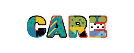 The word CARE concept written in colorful abstract typography.