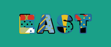 The word EAST concept written in colorful abstract typography.