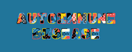 The words AUTOIMMUNE DISEASE concept written in colorful abstract typography. 向量圖像