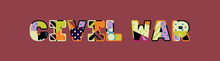The word CIVIL WAR concept written in colorful abstract typography.