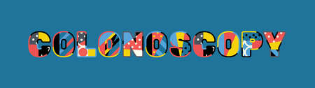 The word COLONOSCOPY concept written in colorful abstract typography.