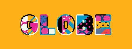 The word GLOBE concept written in colorful abstract typography.